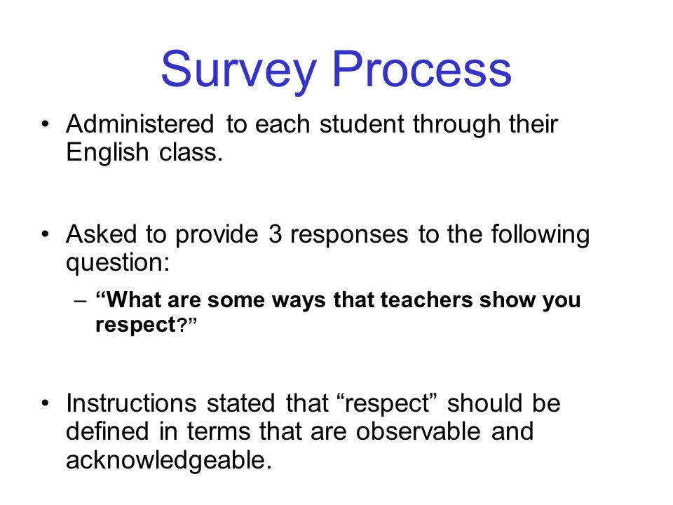 Survey Process Administered to each student through their English class. Asked to provide 3 responses to the following question: