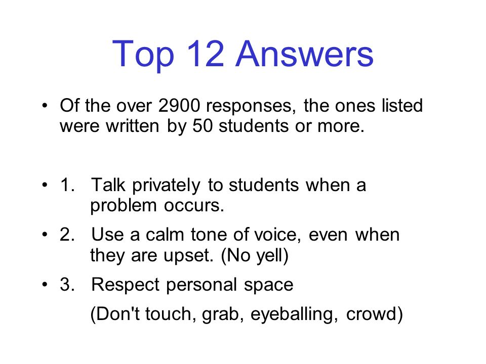 Top 12 Answers Of the over 2900 responses, the ones listed were written by 50 students or more.