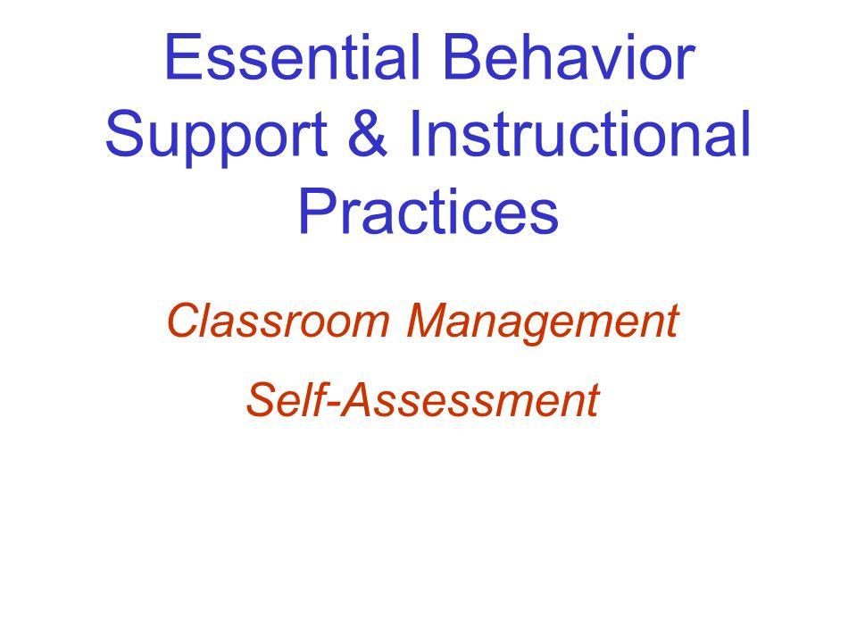 Essential Behavior Support & Instructional Practices