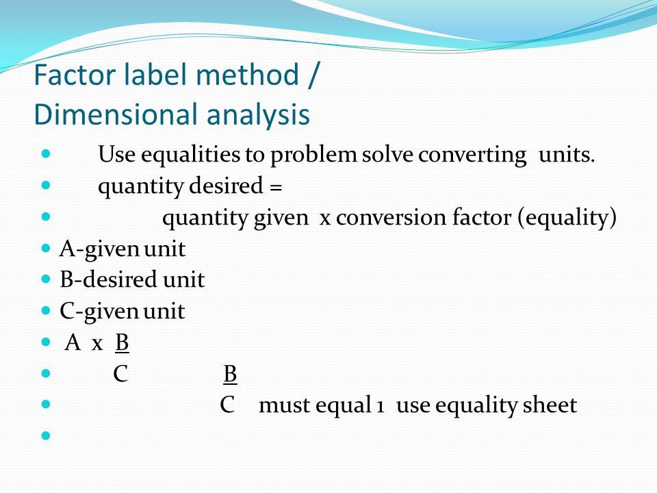 Factor label method / Dimensional analysis
