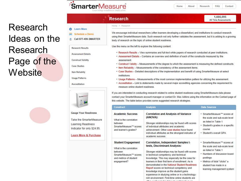 Research Ideas on the Research Page of the Website