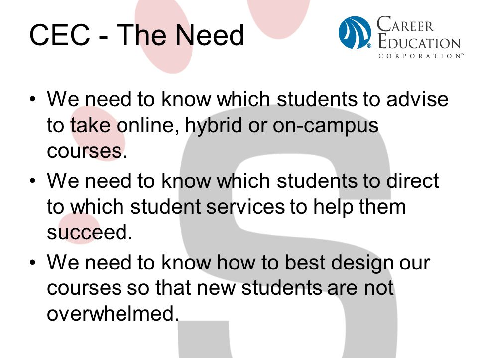 CEC - The Need We need to know which students to advise to take online, hybrid or on-campus courses.