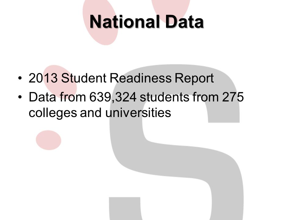 National Data 2013 Student Readiness Report