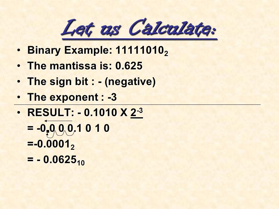 Let us Calculate: Binary Example: 111110102 The mantissa is: 0.625