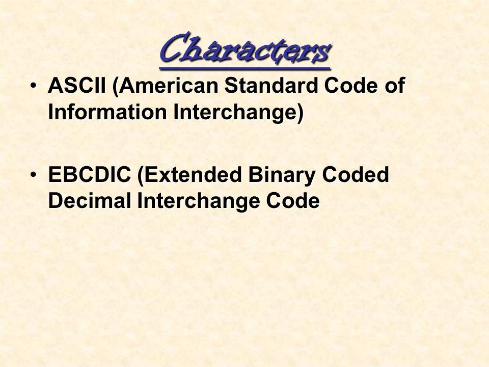 Characters ASCII (American Standard Code of Information Interchange)