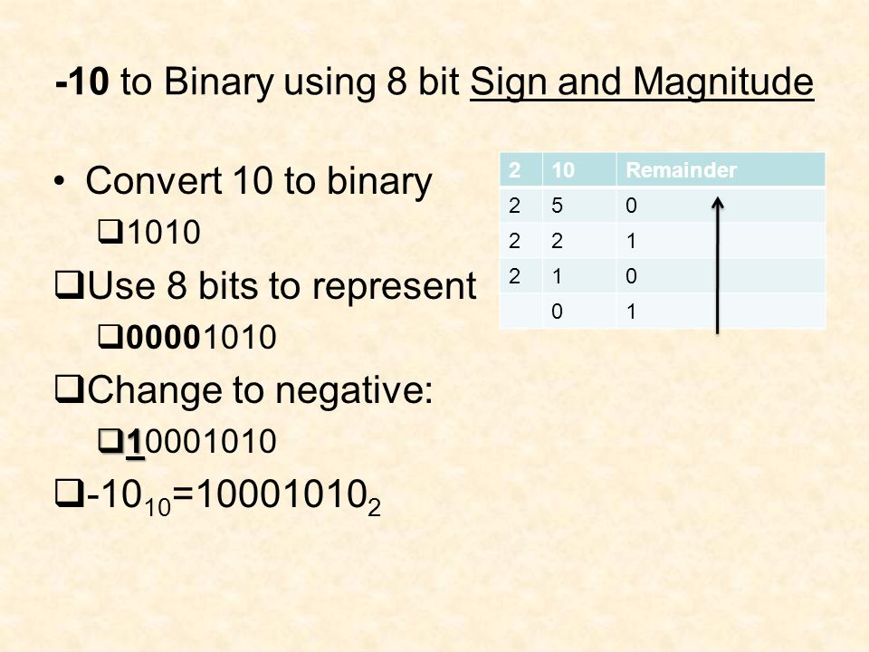 -10 to Binary using 8 bit Sign and Magnitude