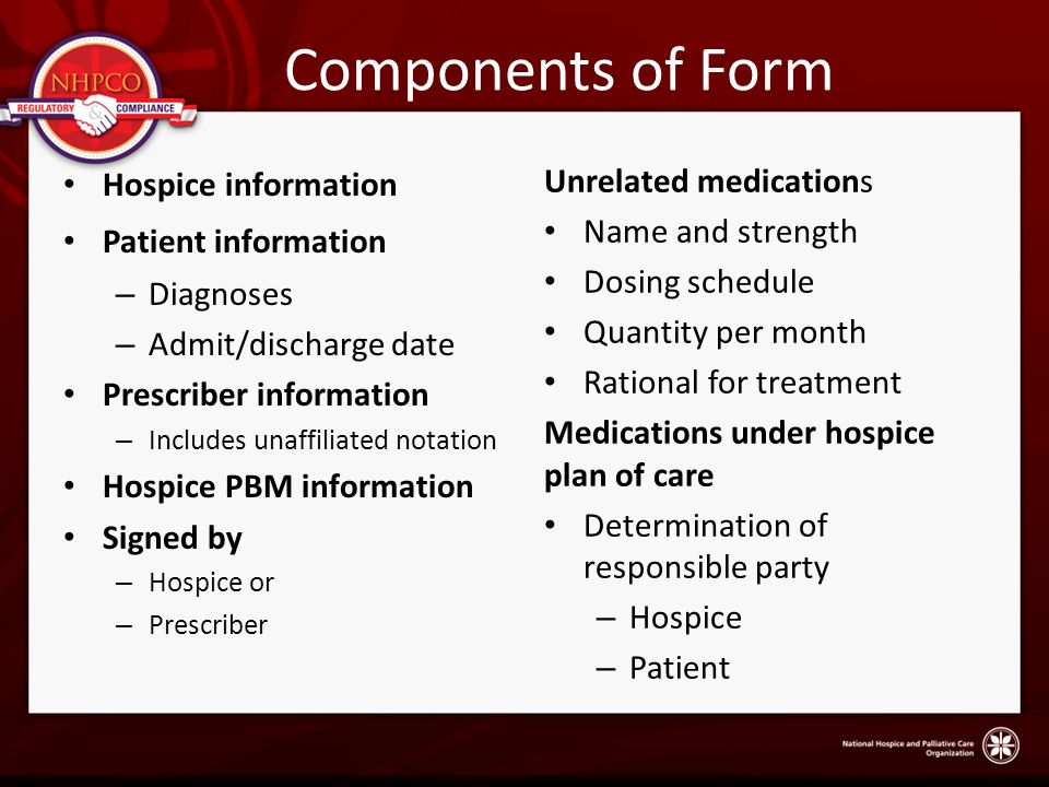 Components of Form Unrelated medications Hospice information