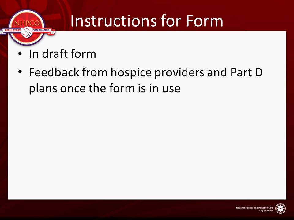 Instructions for Form In draft form