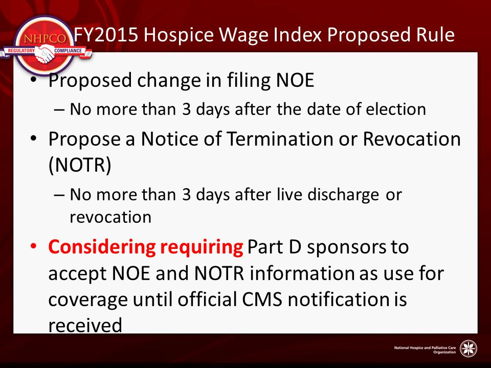 FY2015 Hospice Wage Index Proposed Rule