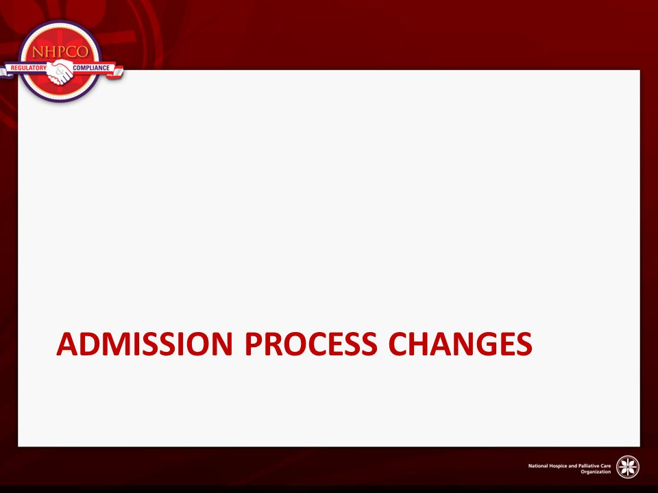 Admission process changes