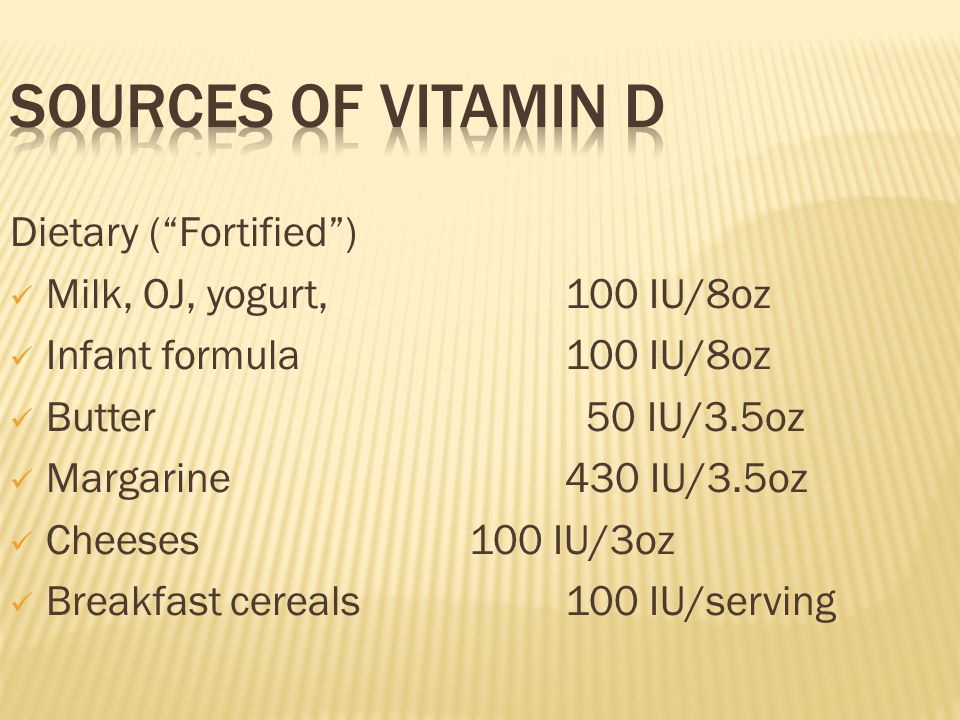 Sources of Vitamin D Dietary ( Fortified )