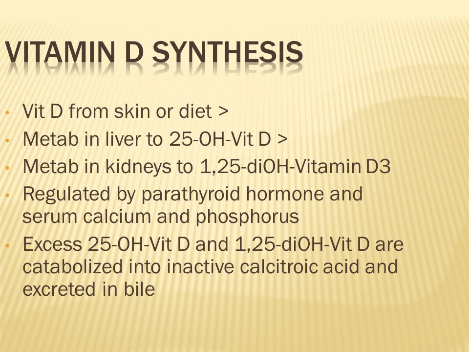 Vitamin D synthesis Vit D from skin or diet >