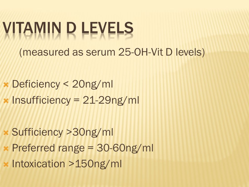 (measured as serum 25-OH-Vit D levels)