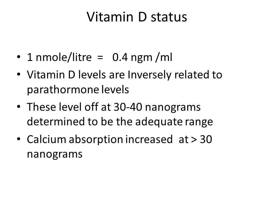 Vitamin D status 1 nmole/litre = 0.4 ngm /ml