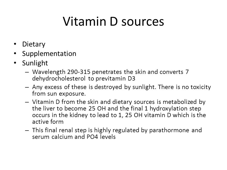 Vitamin D sources Dietary Supplementation Sunlight