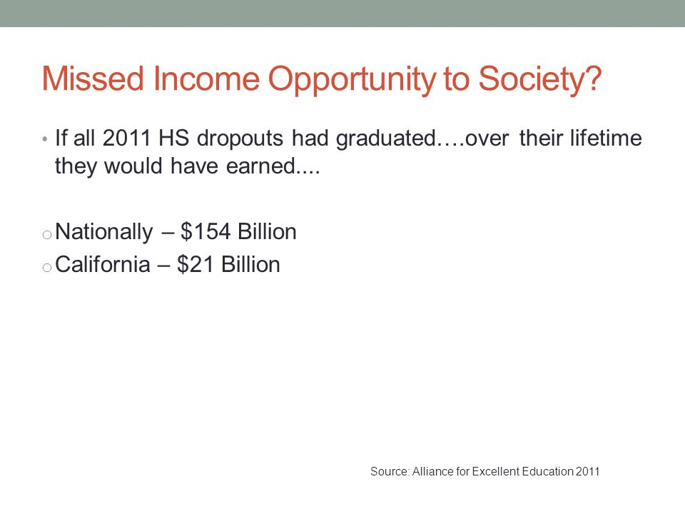 Missed Income Opportunity to Society