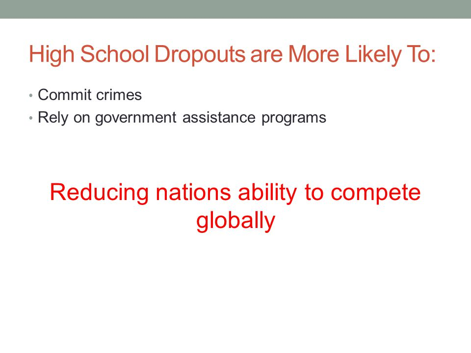 High School Dropouts are More Likely To:
