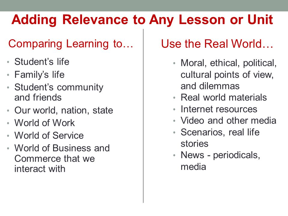 Adding Relevance to Any Lesson or Unit