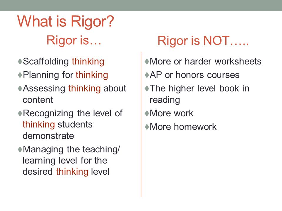 What is Rigor Rigor is… Rigor is NOT….. Scaffolding thinking