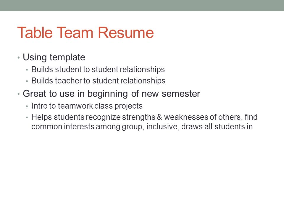 Table Team Resume Using template