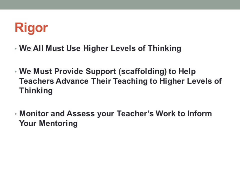 Rigor We All Must Use Higher Levels of Thinking