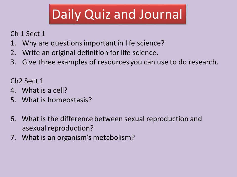 Daily Quiz and Journal Ch 1 Sect 1