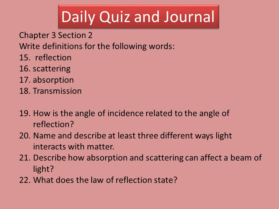 Daily Quiz and Journal Chapter 3 Section 2