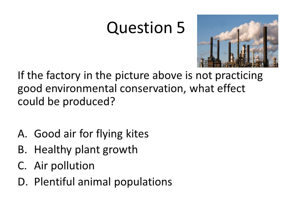 Question 5 If the factory in the picture above is not practicing good environmental conservation, what effect could be produced