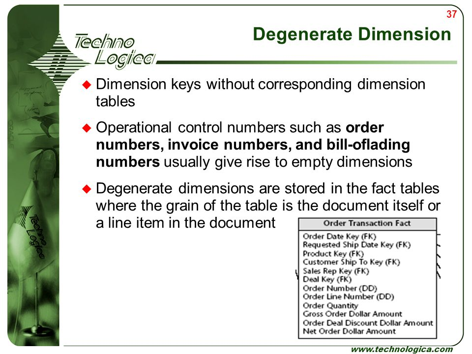 Degenerate Dimension Dimension keys without corresponding dimension tables.