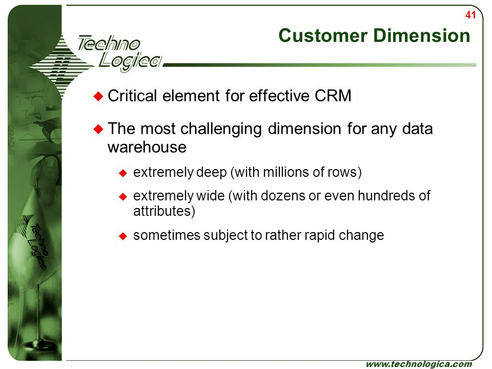 Customer Dimension Critical element for effective CRM