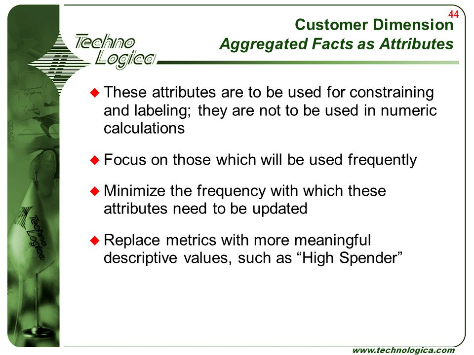 Customer Dimension Aggregated Facts as Attributes