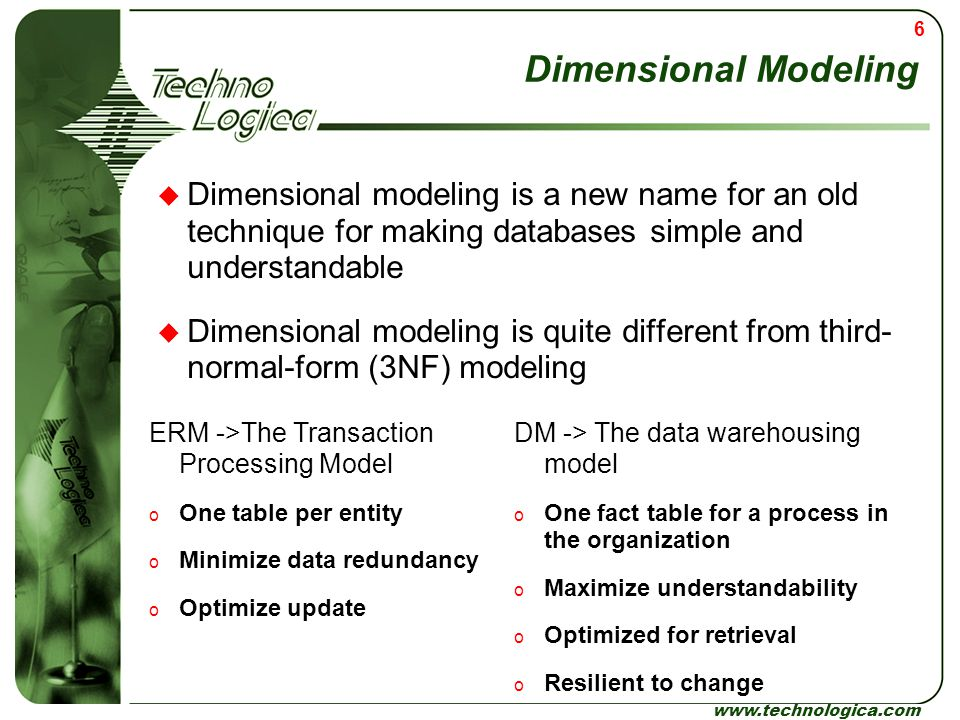 Dimensional Modeling Dimensional modeling is a new name for an old technique for making databases simple and understandable.