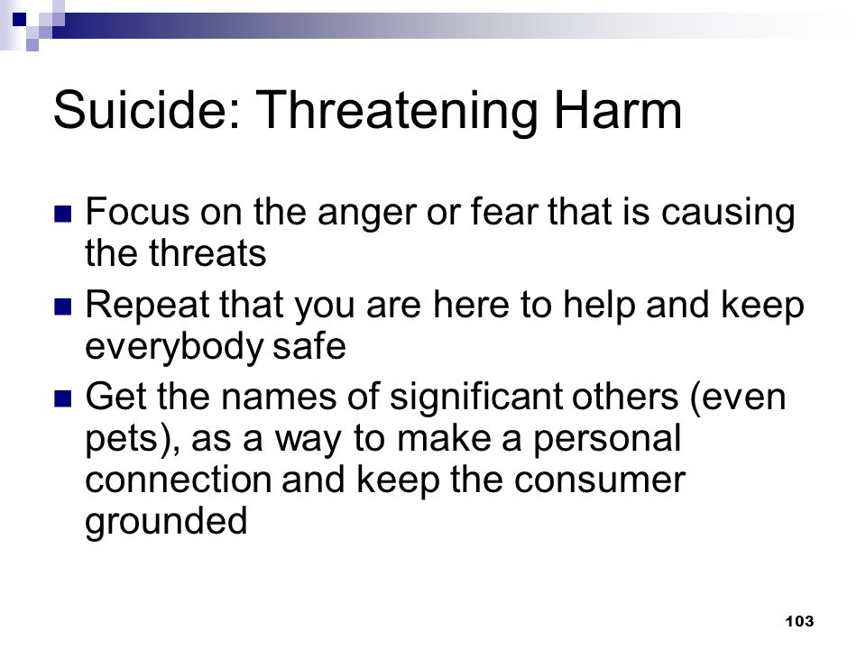Suicide: Threatening Harm