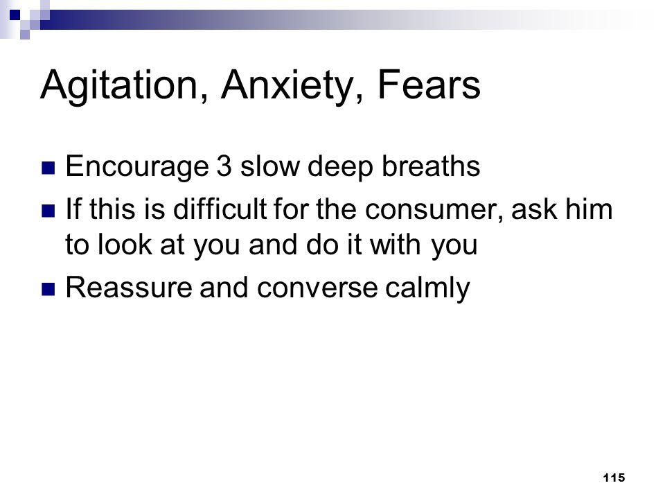 Agitation, Anxiety, Fears