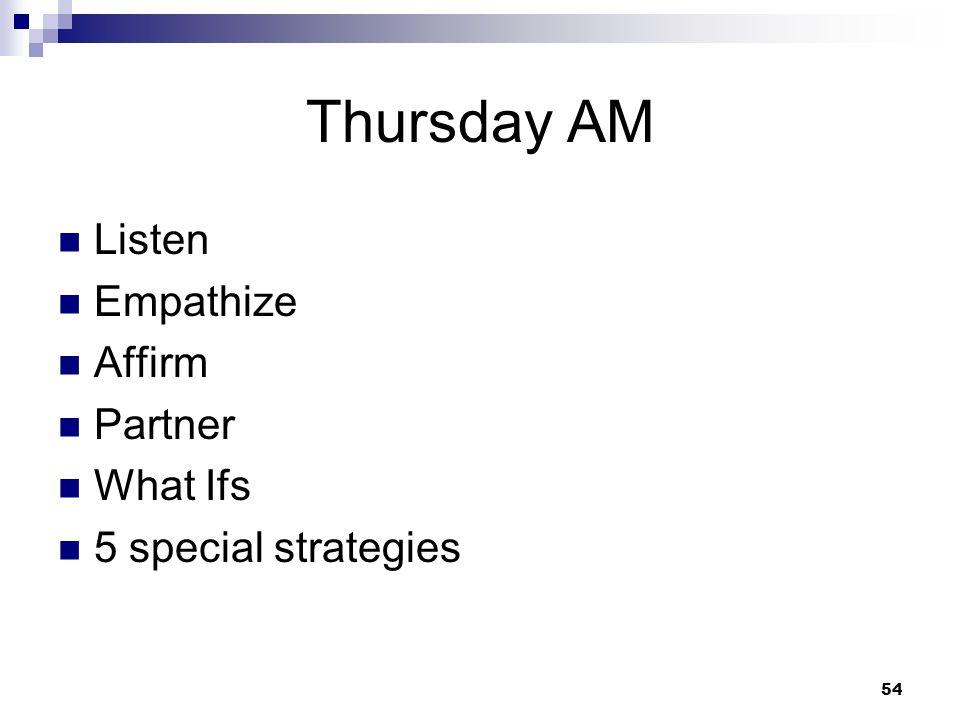 Thursday AM Listen Empathize Affirm Partner What Ifs