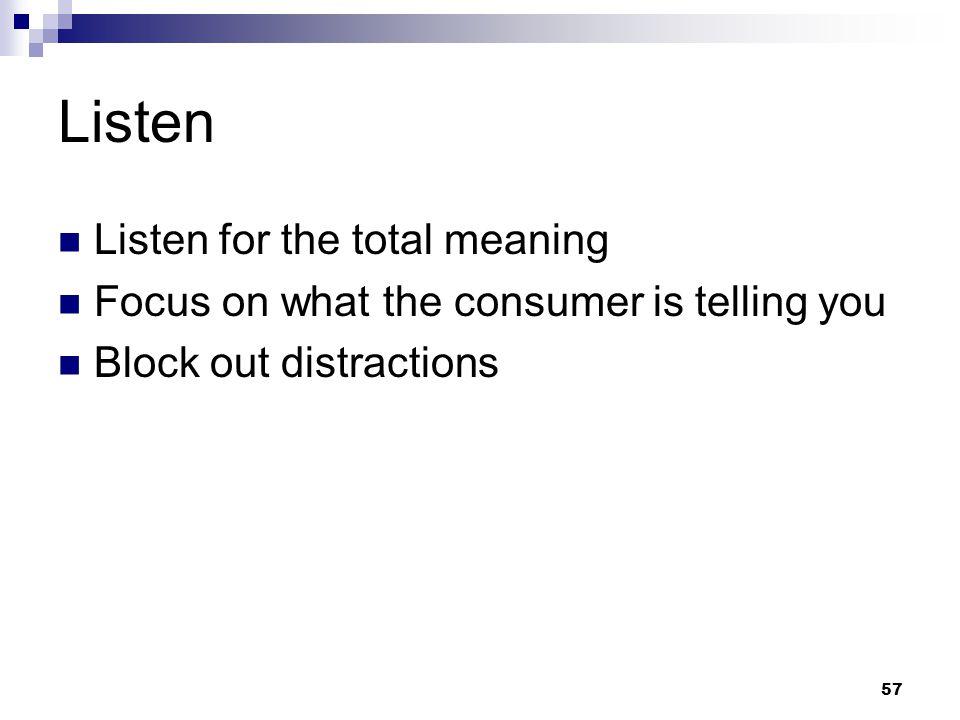 Listen Listen for the total meaning