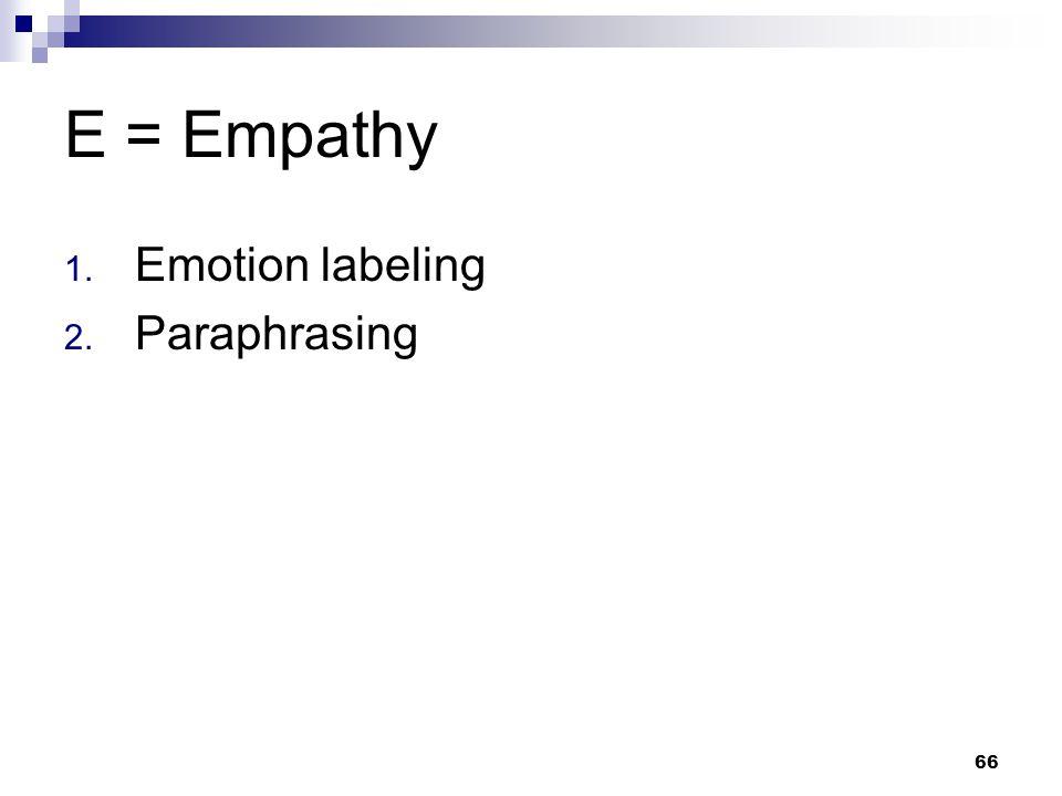 E = Empathy Emotion labeling Paraphrasing