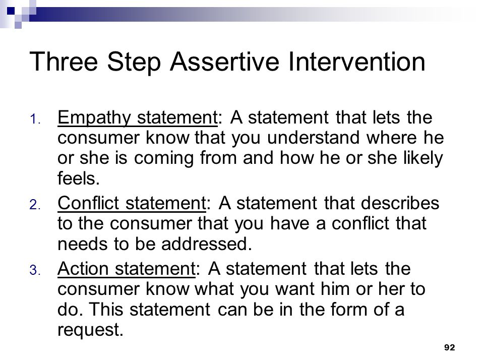 Three Step Assertive Intervention