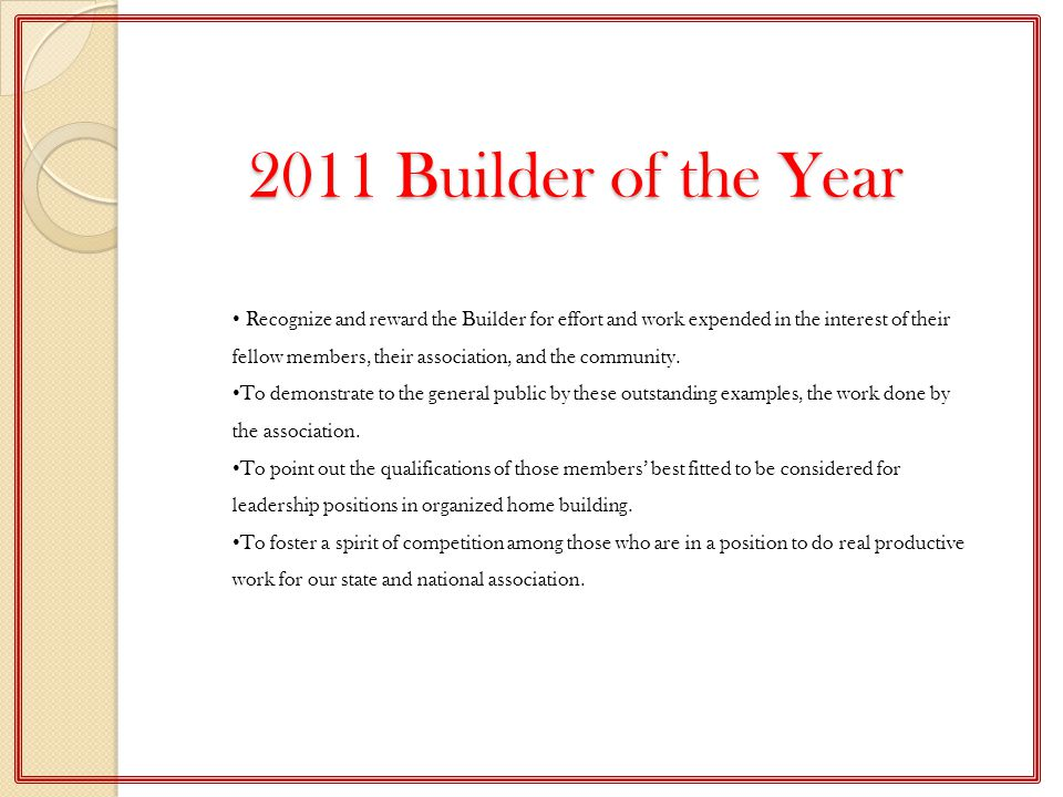 2011 Builder of the Year