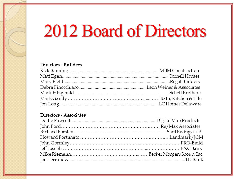 2012 Board of Directors Directors - Builders