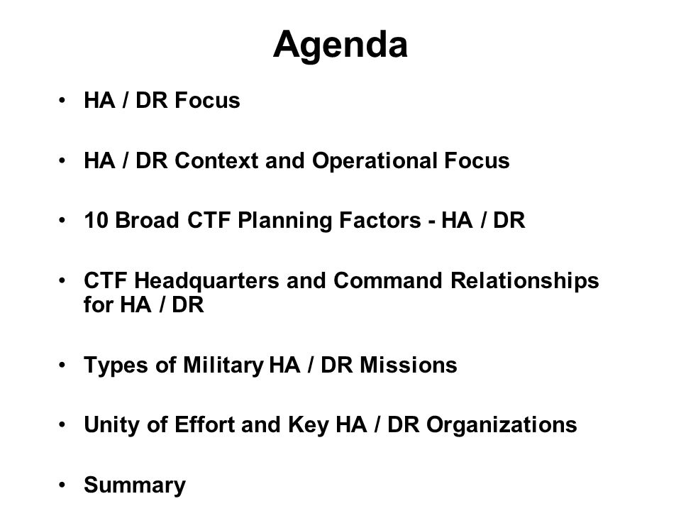 Agenda HA / DR Focus HA / DR Context and Operational Focus