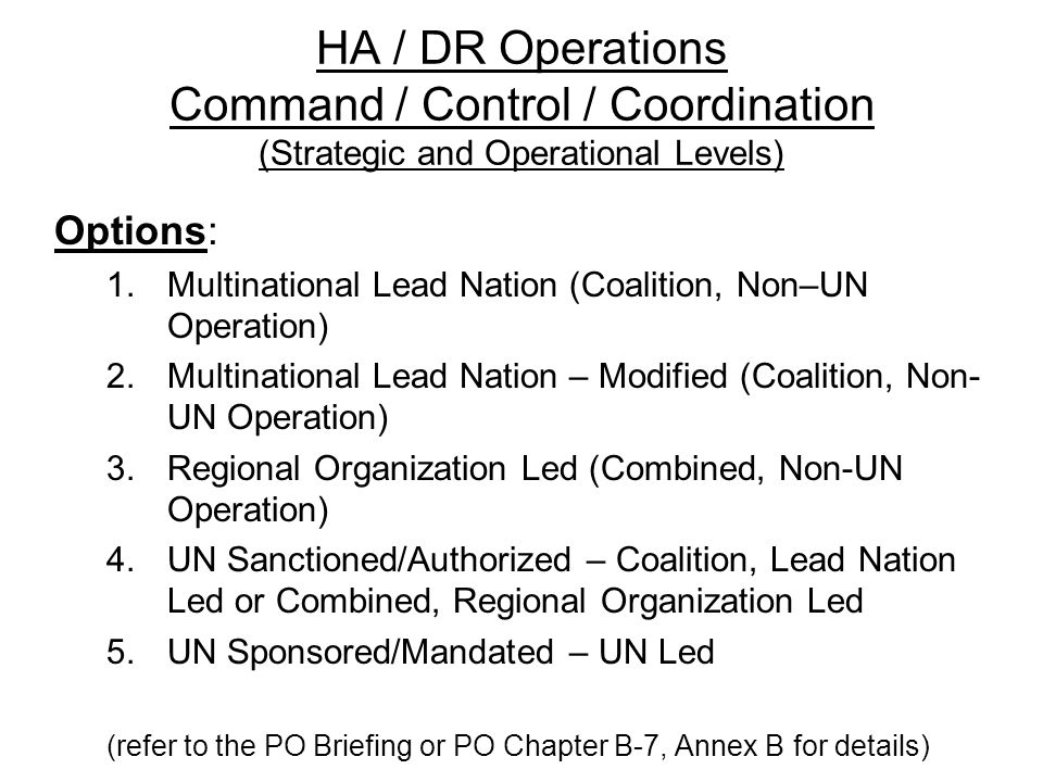 HA / DR Operations Command / Control / Coordination (Strategic and Operational Levels)
