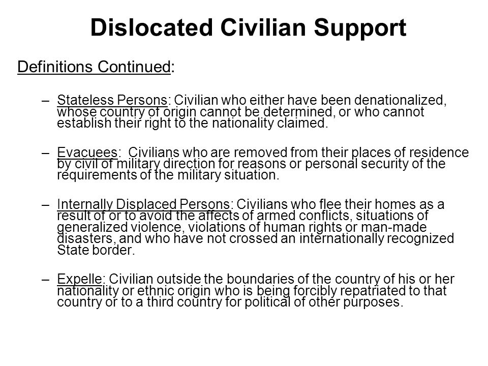 Dislocated Civilian Support
