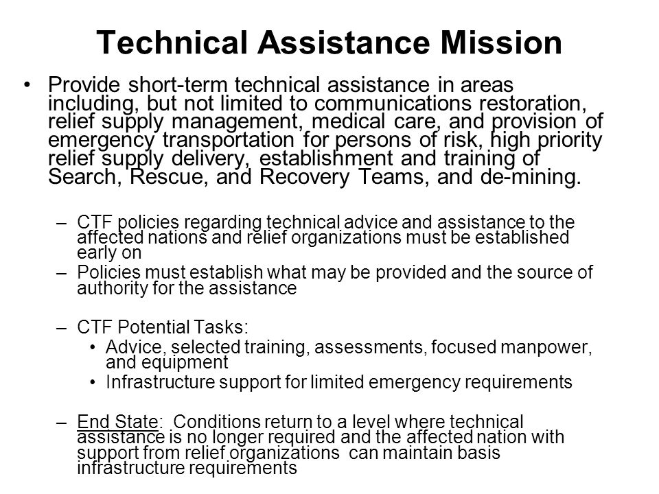 Technical Assistance Mission