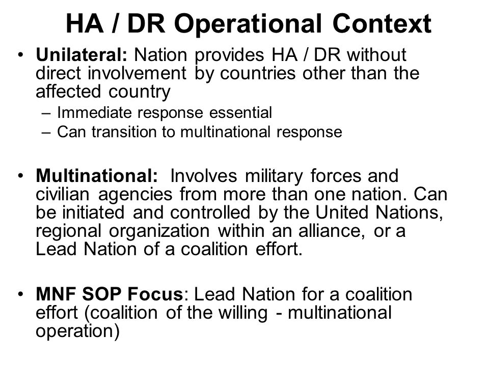 HA / DR Operational Context