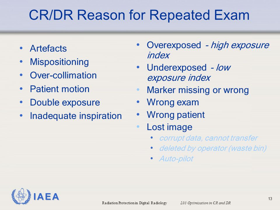 CR/DR Reason for Repeated Exam