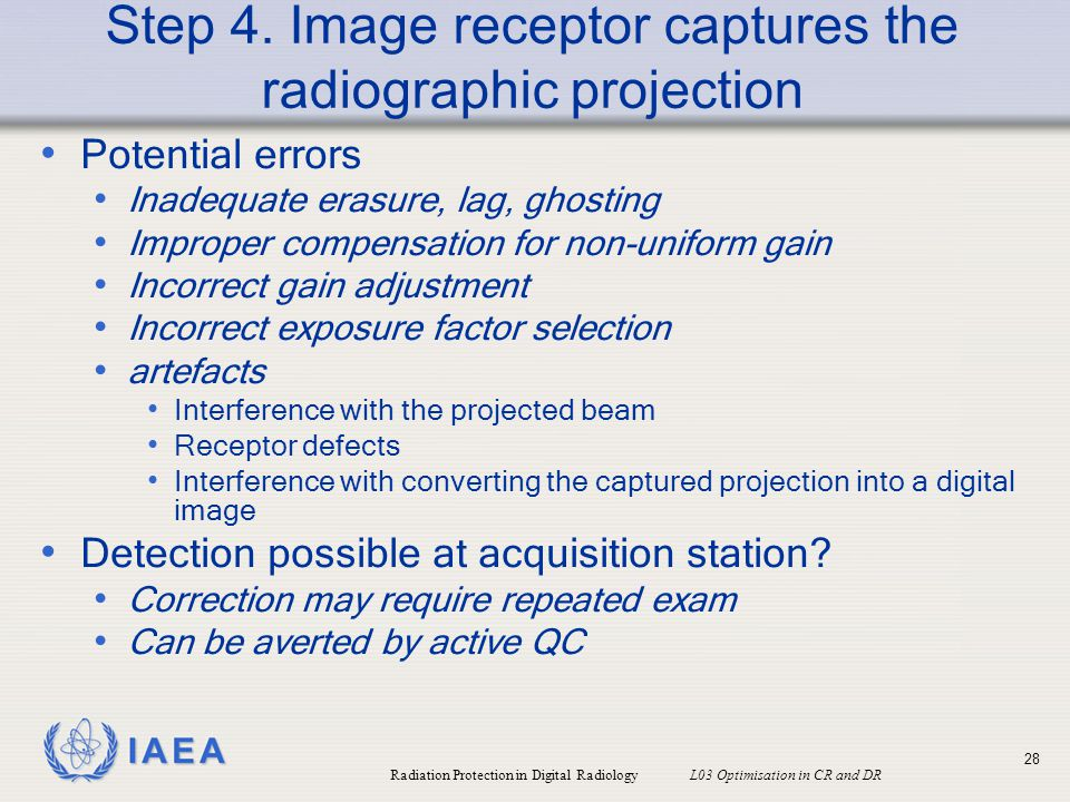 Step 4. Image receptor captures the radiographic projection