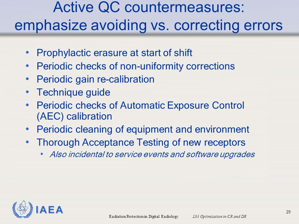 Active QC countermeasures: emphasize avoiding vs. correcting errors