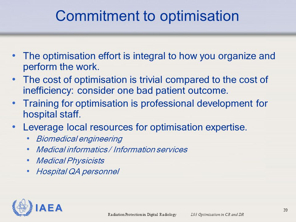 Commitment to optimisation