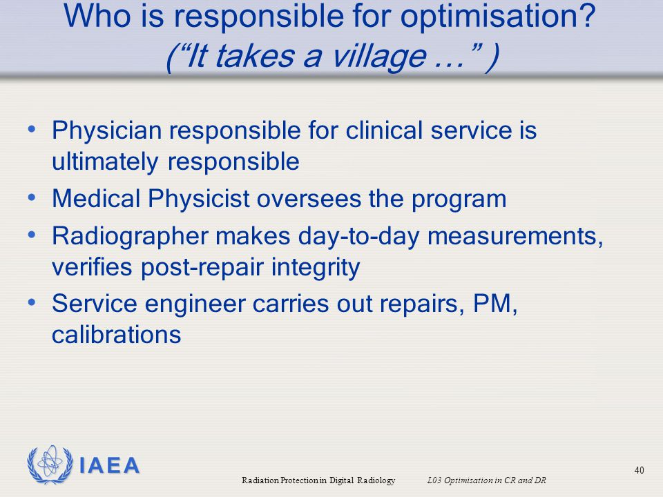 Who is responsible for optimisation ( It takes a village … )